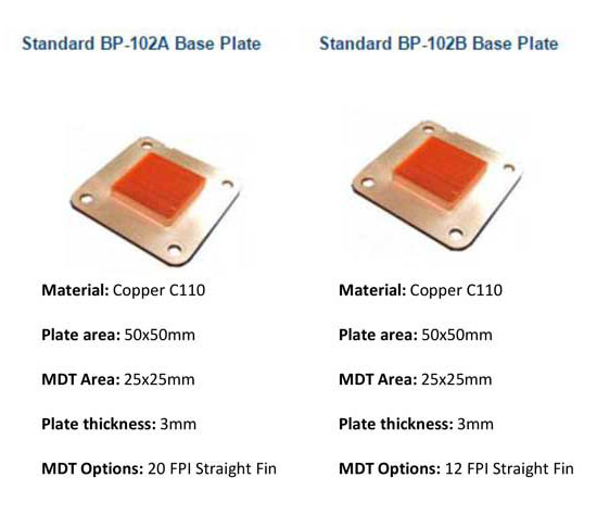 standard copper base plates - custom base plates also available